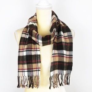 Brown Multi Flannel Plaid Scarf Wrap
